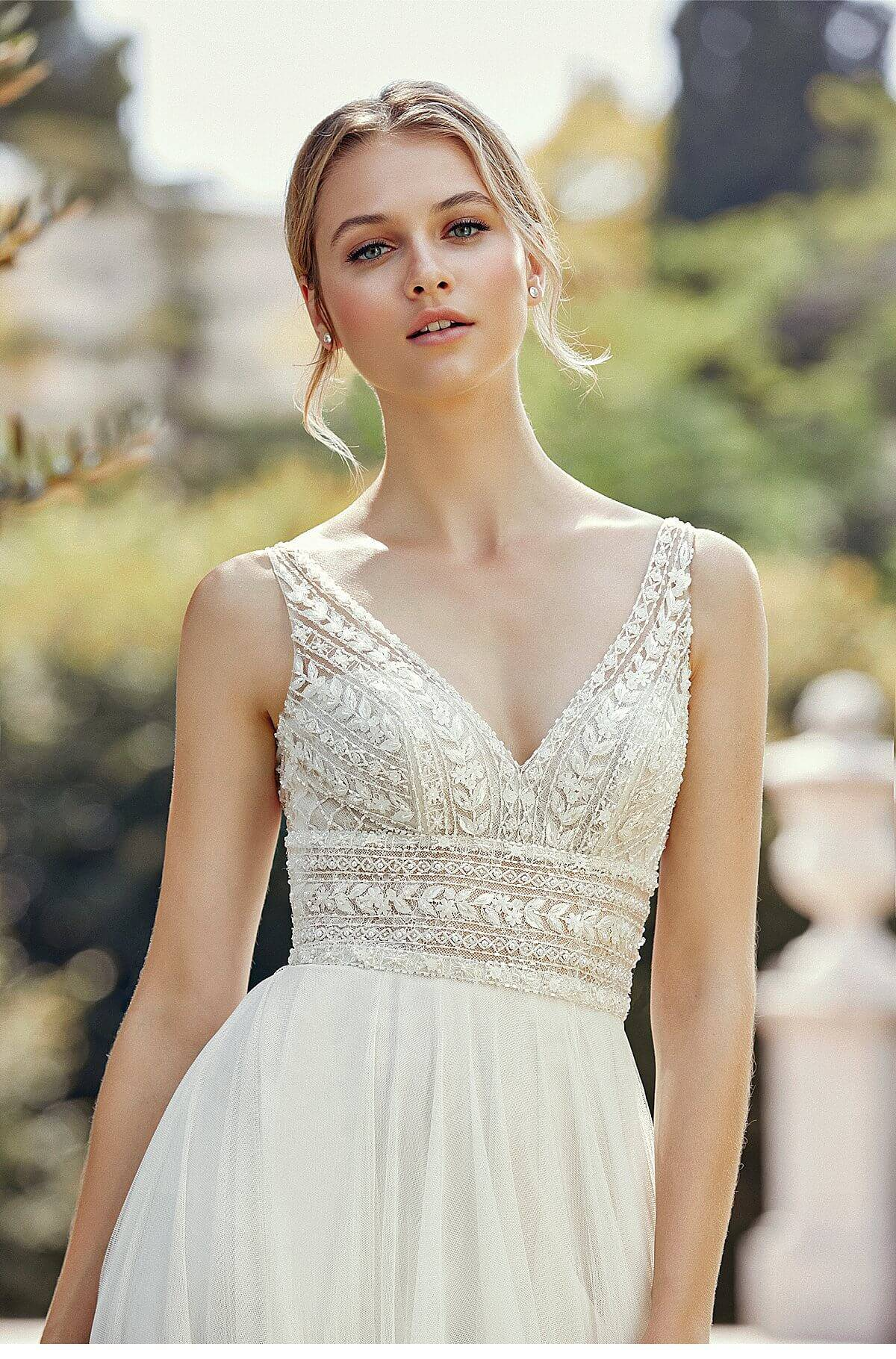7a80fe5117 Style 44120 is a gorgeous A-Line Dress with beaded bodice. Romance is  defined in this English net A-Line dress. The dress features Chantilly lace  under ...