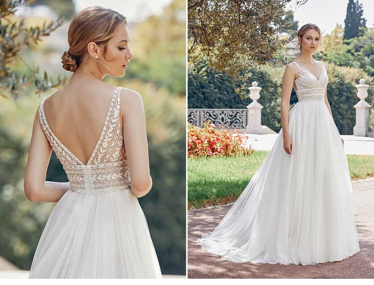 20b13e8c2 Style 44120 is a gorgeous A-Line Dress with beaded bodice. Romance is  defined in this English net A-Line dress. The dress features Chantilly lace  under ...