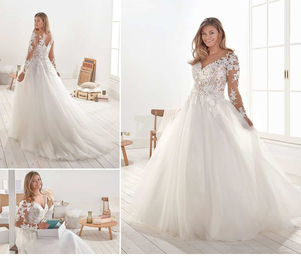 11ec8fab868fd Thanks to a special cut for plus sizes, bridal dress Ofil wraps around  every silhouette and delights with a touch of extravagance.